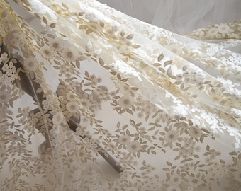 Champagne Leaf Lace Fabric, Off white Flower Trim, Gold Thread Embroidery Lace Fabric
