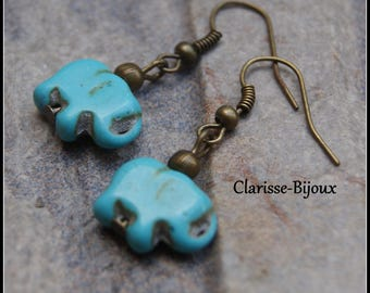 Turquoise Howlite Earrings, Antique Bronze Earrings, Elephant Earrings