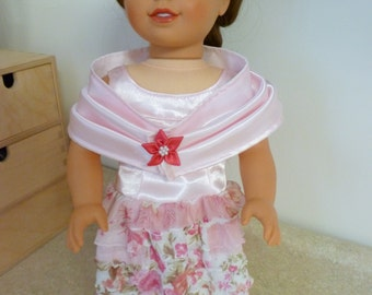 """Clearance Sale/18 """" Doll Party Dress/Ardith Ruffled Evening Gown, Shawl/American Doll/Girl Doll Dress/Cloak/Pink Princess Dress/satin gown"""