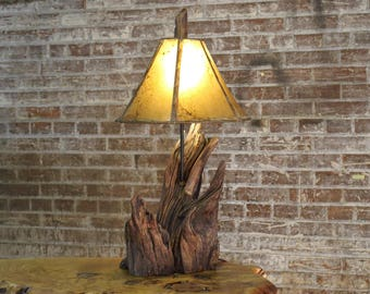 Oak Driftwood Table Lamp - Rustic Upcycled or Reclaimed Natural Wood Lighting