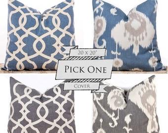 "SALE ENDS SOON Ikat Pillows, Blue Throw Pillows, Gray Cushion Covers, Decorative Lattice Pillows, Pillow Pairs, 20 x 20"""