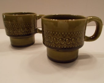 Set of 2 avocado green retro coffee tea mugs (Japan)
