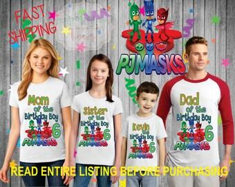 Pj Mask Birthday Shirt Boy FAMILY Dad Mom Brother Age Name Custom Theme Raglan T-shirt Oneise Long Sleeve pj masks
