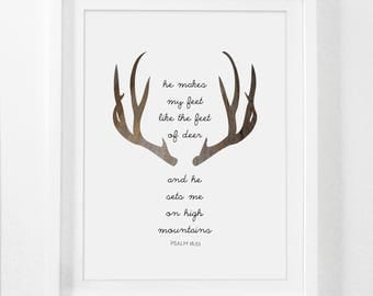 Printable Art, Deer Bible Verse, Deer Prints, Modern Christian Art, Scripture Print, Christian Prints, Printable Bible Art, Deer Antler
