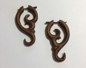 Wood Tribal Earring Fake Gauge Post Earring Hawaiian Jewelry