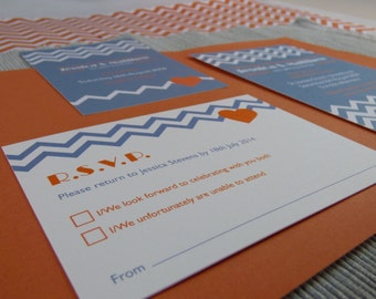 Geometric Chevron Wedding RSVP Reply card