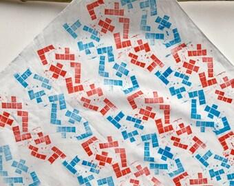 Pentominoes (Red & Blue) Medium Handprinted Knot-wrap