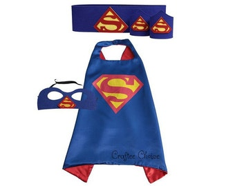 Superman cape, mask, belt and wristband/ superhero/ childrens cape/ costume/party favor/kids/ stocking stuffer
