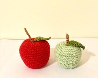 Crochet fruit, two apples, crochet toys, kitchen decor, crochet handmade fruit