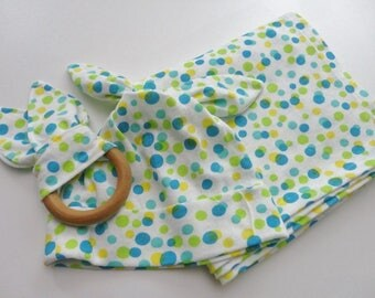 3-Piece Polka Dot Baby Gift Set- Swaddling Blanket, Hat, Teething Ring - Ready to Ship