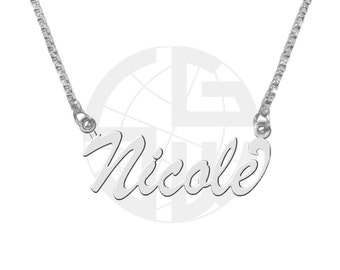 Sterling Silver Personalized Handmade Name Necklace with ANY NAME of your choice in English with High Polish Shiny Finish Gift item - BS