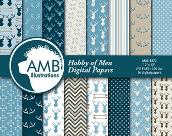 Cabin Chic Antler paper, Deer Digital Papers, masculine paper, Guy hunting pattern, Antler in blue papers,,  AMB-1872