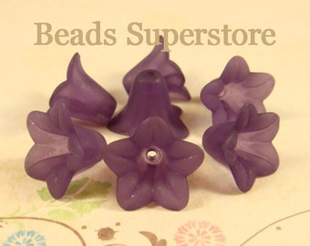 SALE 18 mm x 12 mm Deep Purple Lucite Flower Bead - 10 pcs