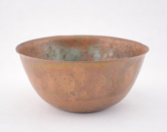 Hammered Copper Bowl, Patina, Vintage Rustic Home Decor, Country Display