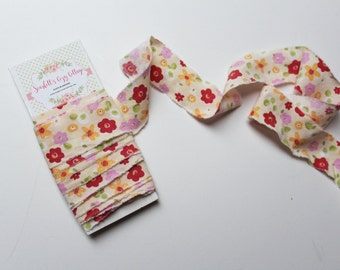Floral Fabric Ribbon Hand Torn Yellow Floral Shabby Chic Ribbon Vintage Ties 4 Yards Trim Gift Wrapping Floral Sheet Cottage Chic Birthday