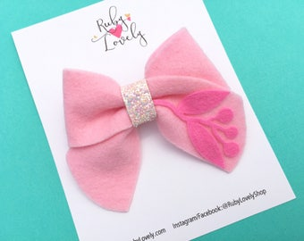 Girls Pink Bow, pink birthday bow, felt bows, spring bows, pink felt bow, pink sailor bow, unique bows, baby pink bow, pink spring bow