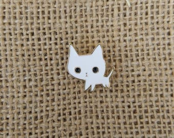 Enamel Pin: White Kitty Cat Pin