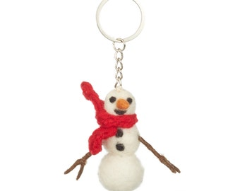 Snowman Keyring - Felt Animals - Needle felted - Wool felt - Original Gift - Children gift under 5 - Merino wool - Ethical - Handmade