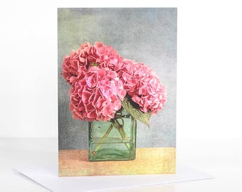 Photo greeting card, Photographic greeting card. Pink Hydrangea Photographic Greeting Card. Floral Blank card. Floral greeting card.