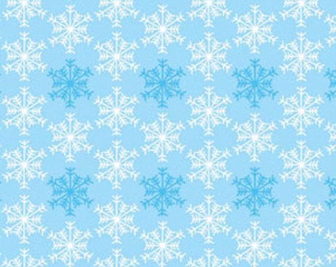 Half Yard Snow Days - Shadow Snowflake in Sky Blue - Snowflakes - Cotton Quilt Fabric - Mitzi Powers for Benartex Fabrics - 3661-05 (W3527)