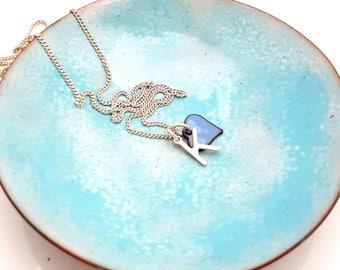 Ring Bowl - Light Blue Trinket Dish - Enamel Bowl - Pinch Bowl