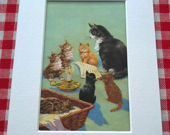 Cat Reading to Kittens Original Page from Vintage Ladybird Book Puppies and Kittens. With Mount.