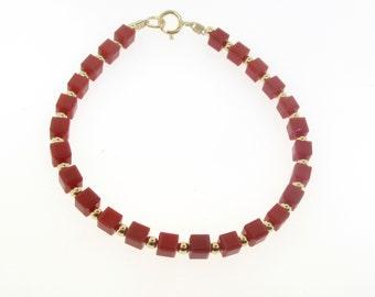 Swarovski Square Crystal Bracelet With Gold Filled Beads.