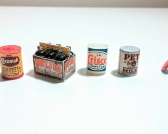 Vintage miniature dollhouse food sixpack Mug Rootbeer plastic cans 4 pc