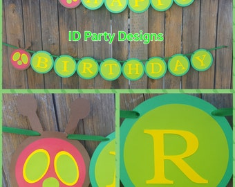 VERY HUNGRY CATERPILLAR banner Very Hungry Caterpillar Birthday Happy Birthday One Garden Theme Children Book