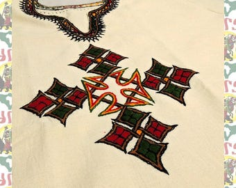 Ethiopian Traditional hand embroidered Shirt M (tra m-a102)
