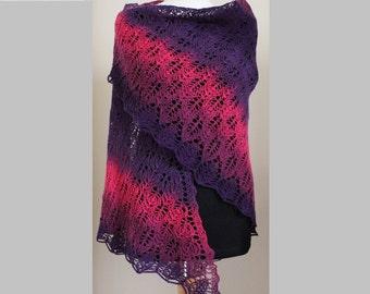 Hand knit triangular lace wool shawl
