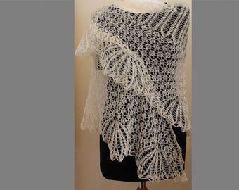 Hand knitted triangular lace wool shawl White shawl