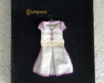 Vintage Hankie Origami Dress- White With Lavender Edging and Buttons