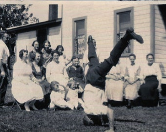 Vintage Photo..Hand Stand Show Off, 1910's Original Found Photo, Vernacular Photography