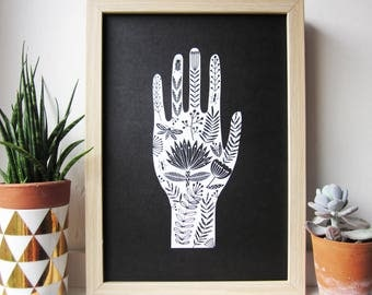 Folk art hand giclee print illustration black background tattoo style design A4 size
