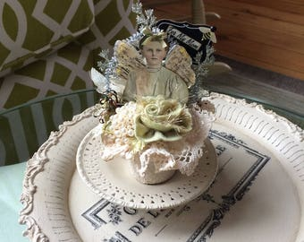 Victorian Gift for Mom - Altered Peat Pot - Victorian Mother Gift