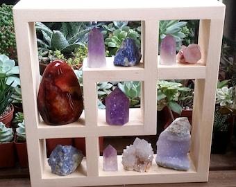 Geometric Crystal Display Shelf   Natural Wood Crystal Display Wall Shelf   Crystal Shelves Shadow Box