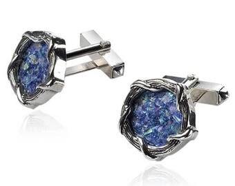 Sterling Silver Ancient Blue Roman Glass Judaica Round Cufflinks Set Mens Shirt Jewelry