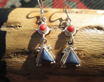 Lapis, Coral and Sterling Dangle Earrings