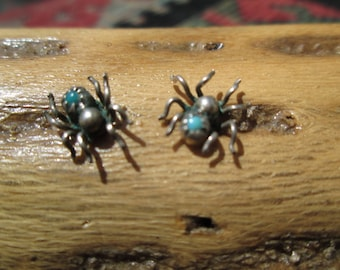 Turquoise and Sterling Spider Stud Earrings