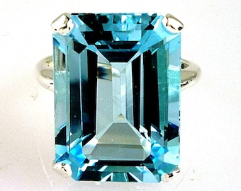 Beautiful Natural Large Emerald Cut Blue Topaz Ring 925 Sterling Silver 18X13MM - 18.53 Carats