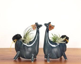 llama vase / alpaca vase/ air plant vase / satin blue / one llama