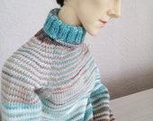 Blue-brown sweater for SD bjd(fits spiritdoll proud v2)