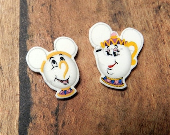 Handcrafted Mrs. Potts & Chip Inspired Mouse Head Ears Nickel Free Post Earrings