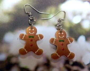 Handcrafted Gingerbread Man Dangle Earrings Food Jewelry Cookie