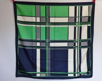 "Vintage Mod scarf geometric green blue white 76cm x 78cm / 29.9"" x 30.7"""
