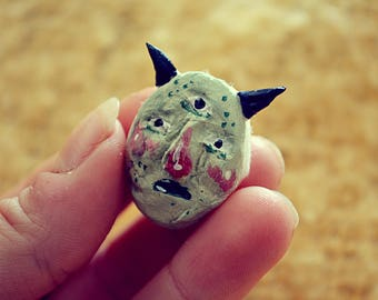 Folk devil handmade clay pin