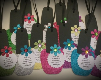 Spa Party Favor Tags - Nail Polish Favor Tags - Girls Spa Party Favors Set of 12