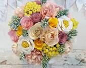 Paper wedding bouquet flower origami spring wedding fresh pink yellow blush peach apricot rose succulent berries not silk foam brooch button