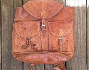 Incredible Hand Tooled Leather Backpack